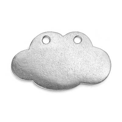 """Pewter Soft Strike Cloud w/ Holes, 1 1/4"""" x 3/4"""" 16g Stamping Blank x1"""