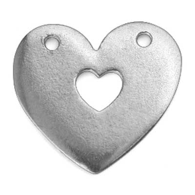 """Pewter Soft Strike Heart w/ Hole, 1"""" x 1"""" 16g Stamping Blank x1"""