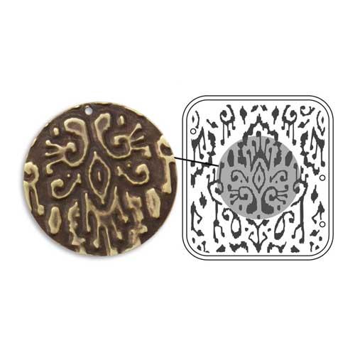Vintaj Natural Brass - Sizzix DecoEmboss Die - Ikat Pattern
