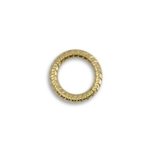 Vintaj Vogue Solid Brass 14.5mm 11ga Cross Hatch Jump Ring x1 (Open)