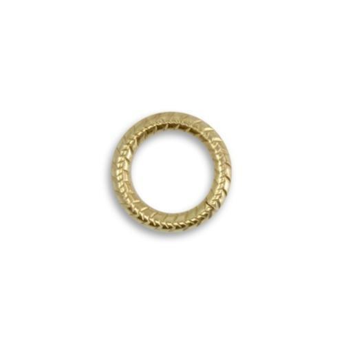 Vintaj Vogue Solid Brass 14.5mm 11ga Cross Hatch Jump Ring x1 (Open)