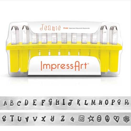 Impressart Jeanie 4mm Alphabet Upper Case Letter Metal Stamping Set