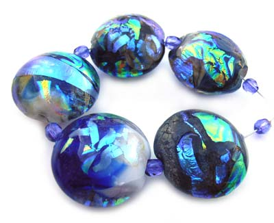 Rainbow Lagoon Set of 5 Dichroic Artisan Glass Lampwork Beads ~ Ian Williams