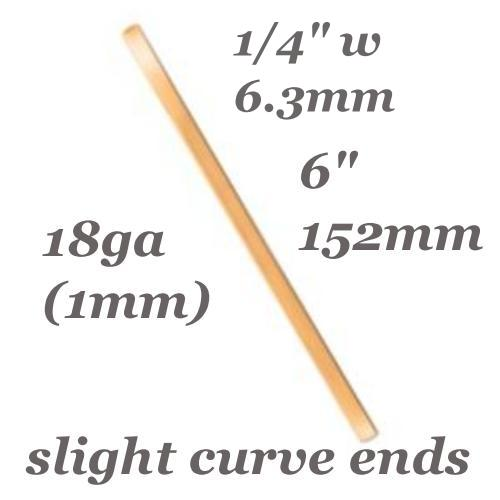 Copper Curved End Cuff Bangle Bracelet 18ga Stamping Blank 1/4 in  6x152mm x1