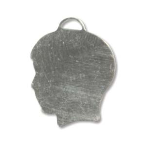 Sterling Silver Boy Head Silhouette 19x15mm 24g Stamping Blank Charm x1
