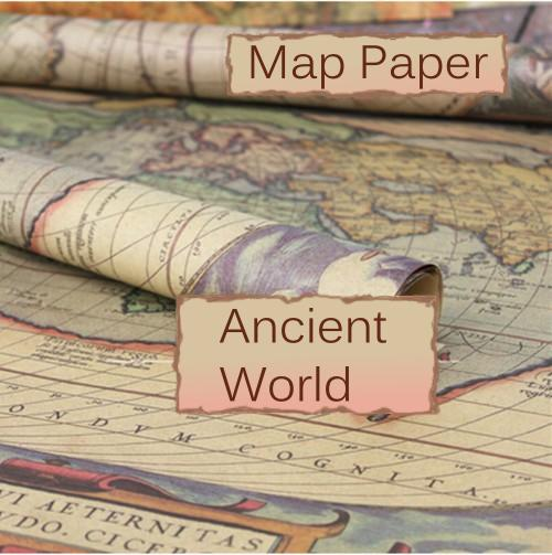 Vintage World Map Ephemera Image Design, 29 x 20.5 inch (750 x 520 mm) Collage Sheet