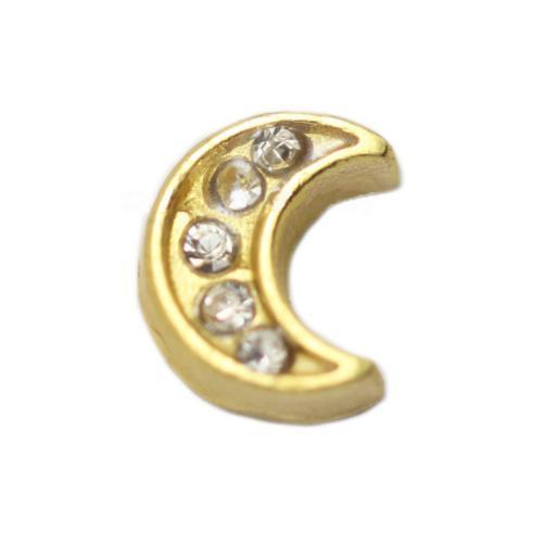 Floating Living Locket Charms, Crystal Rhinestone Gold Moon