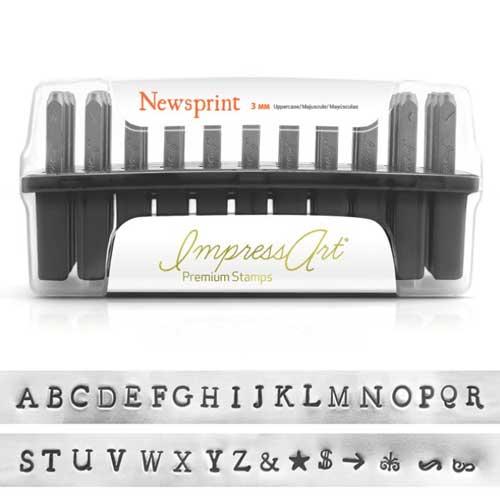 Premium Newsprint Alphabet Upper Case Letter 3mm 1/8 Stamping Set - ImpressArt