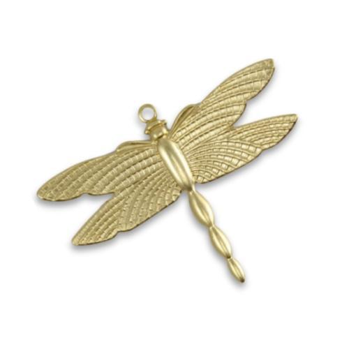 Vintaj Vogue Brass 27.5x36mm Patterned Wings Dragonfly x1