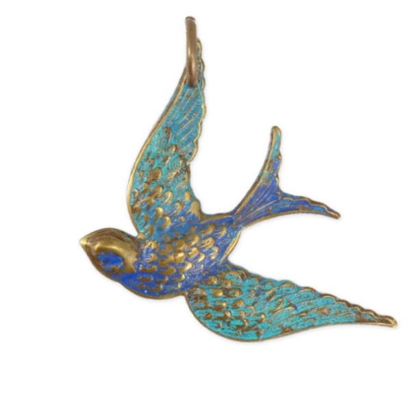 Vintaj Natural Brass 42x31.5mm Fanciful Bird Pendant (Coloured) x1