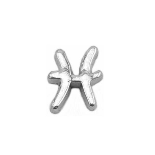 Floating Living Locket Charms, Silver Star Sign, Zodiac, Pisces
