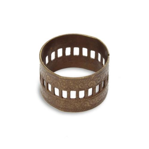 Vintaj Natural Brass 20x13mm Adjustable Scrolled Ring Band x1