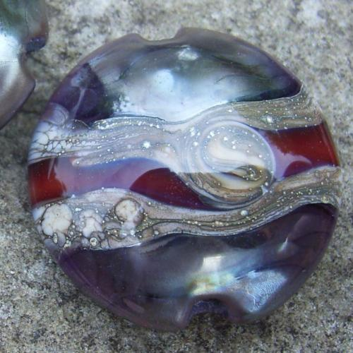 Special Nebula Swirl 18mm Lentil Handmade Artisan Glass Lampwork Beads - By the Bead, (Made to Order)