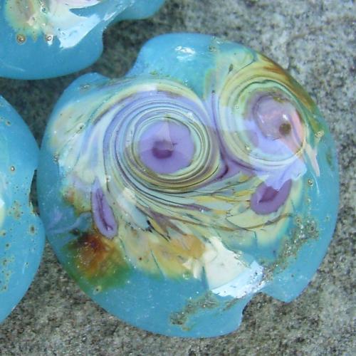 Opaque Turquoise Raku Swirl 18mm Lentil Handmade Artisan Glass Lampwork Beads - By the Bead, (Made to Order)