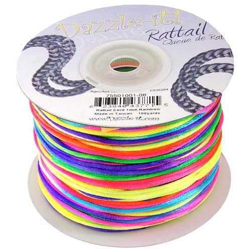 Rat Tail Dazzle It 1mm Rainbow (Kumihimo) Satin Braiding Cord 1 metre