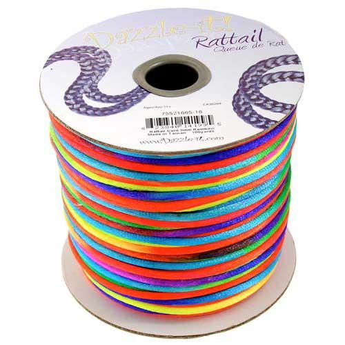 Rat Tail Dazzle It 3mm Rainbow (Kumihimo) Satin Braiding Cord 1 metre