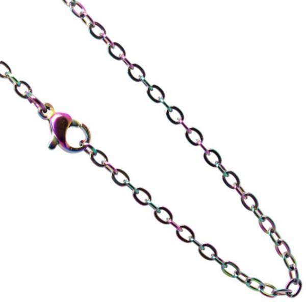 Stainless Steel **mm Cable Chain Necklace 20 inch (51cm) Rainbow x1