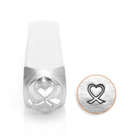 Breast Cancer Awareness Heart Outline Ribbon 6mm Metal Stamping Design Punches - ImpressArt