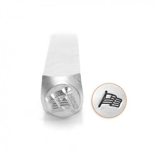 *PRE-ORDER, Special Order* ImpressArt Waving US Flag Design 6mm Metal Stamping Design Punches