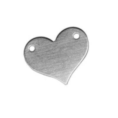Sterling Silver Heart Connector 13x11mm 24g Stamping Blank x1