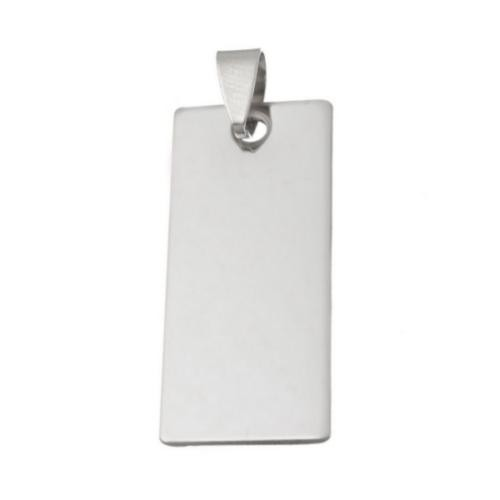 Stainless Steel Rectangle Tag 38x16mm 18g Stamping Blank with Bail x1