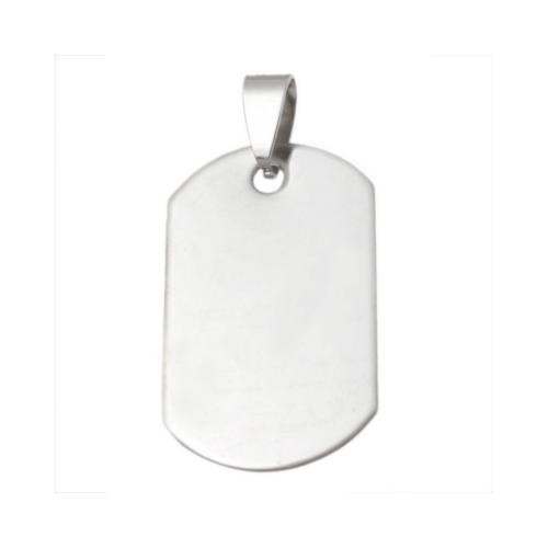 Stainless Steel Rectangle Dog Tag 33x20mm 18g Stamping Blank with Bail x1