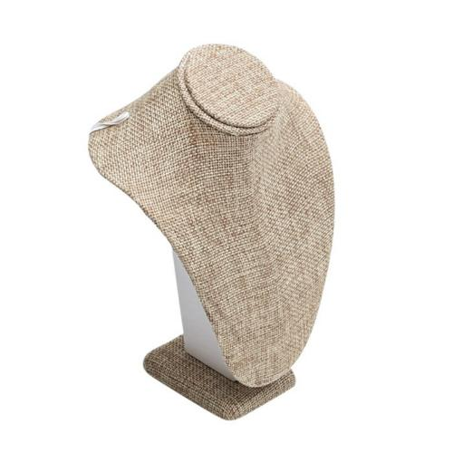 """Necklace Bust (small) Jewellery Display 7.5"""" - Natural Course Linen Style"""