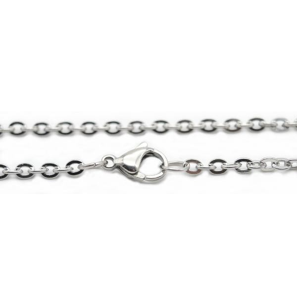 Stainless Steel 2.3mm Flat Cable Chain Necklace 16 inch (41cm) x1