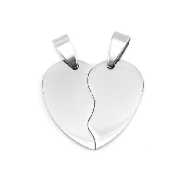 Stainless Steel Heart in Two Half Pieces 22x20mm 16ga Stamping Blank x1 Pair
