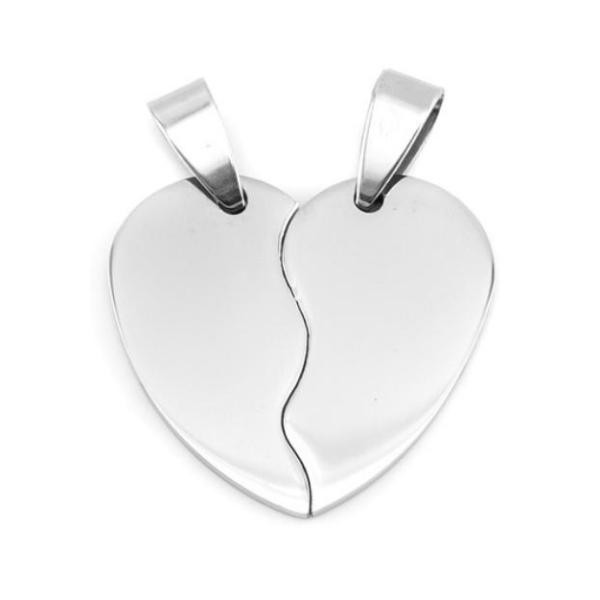 Stainless Steel Heart in Two Half Pieces 27x26mm 16ga Stamping Blank x1 Pair