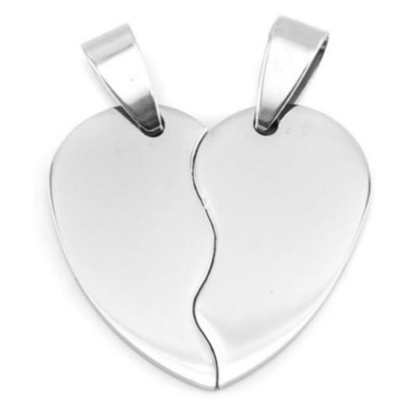 Stainless Steel Heart in Two Half Pieces 32x30mm 16ga Stamping Blank x1 Pair