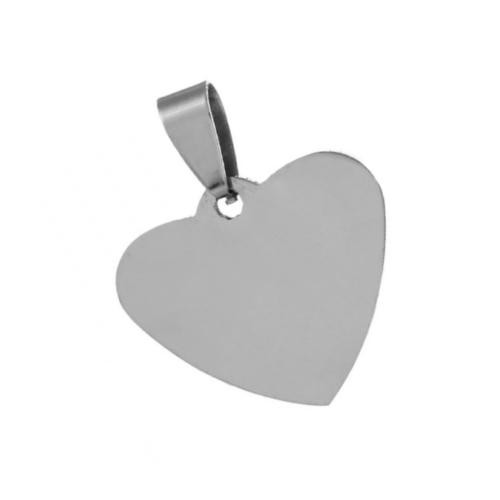 Stainless Steel Heart 25x30mm 16g Stamping Blank with Bail x1