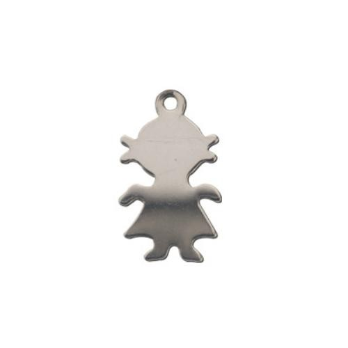 Sterling Silver Girl 14x8mm 26g Stamping Blank Charm x1