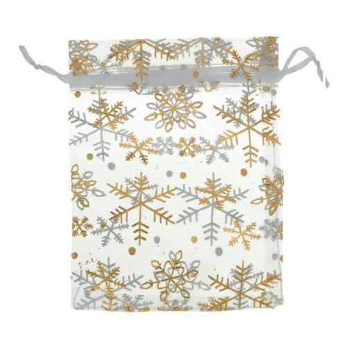Organza Drawstring Pouches ~ Gold Snowflake on White (4.5x3.5) 115x90mm x10pc
