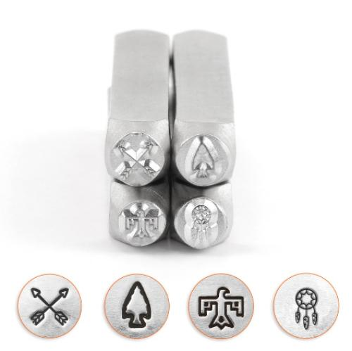 ImpressArt Southwestern Collection 6mm Metal Stamping Design Punches (4pc Crossed Arrows, Arrowhead, Thunderbird, Dreamcatcher)