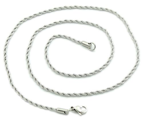 Stainless Steel 2.1mm Rope Chain Necklace 20 inch x1