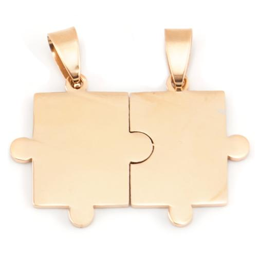 Stainless Steel 18kt Rose GP Jigsaw Puzzle Pieces 38x26mm 16ga Stamping Blank x1 Matching Pair