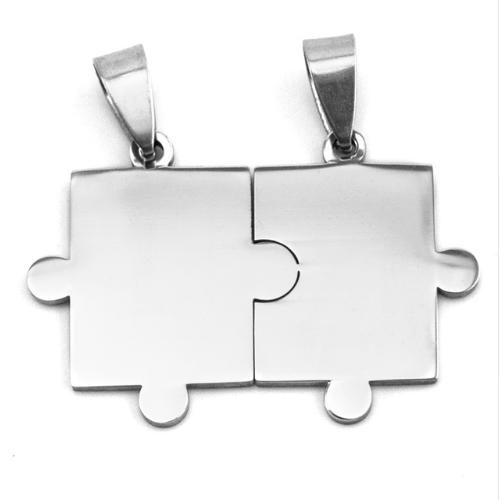 Stainless Steel Jigsaw Puzzle Pieces 38x26mm 16ga Stamping Blank x1 Matching Pair