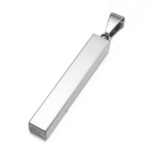 Stainless Steel Rectangle Bar 5x5x30mm Stamping Blank with Bail x1