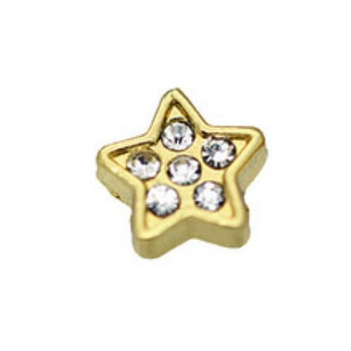 Floating Living Locket Charms, Crystal Rhinestone Gold Star