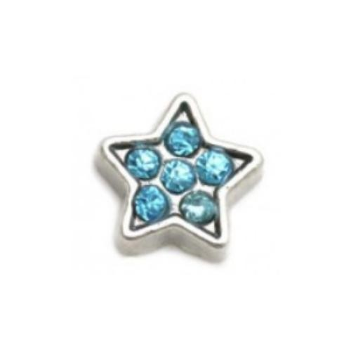 Floating Living Locket Charms, Crystal Rhinestone Silver Aqua Star
