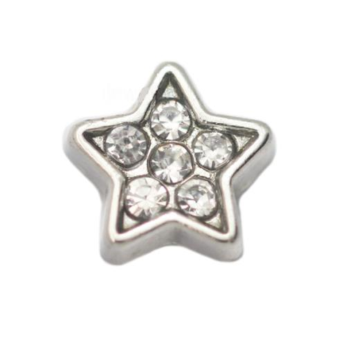 Floating Living Locket Charms, Crystal Rhinestone Silver Star