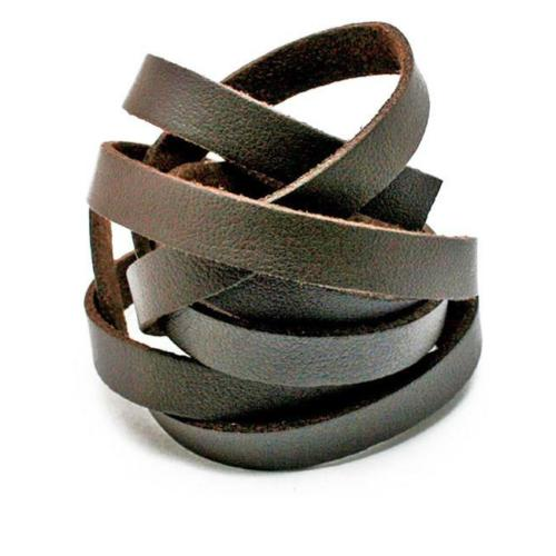 Faux PU Flat Leather Strip, for Bracelets, 8mm Wide, 1 metre x1pc, Brown (flawed)