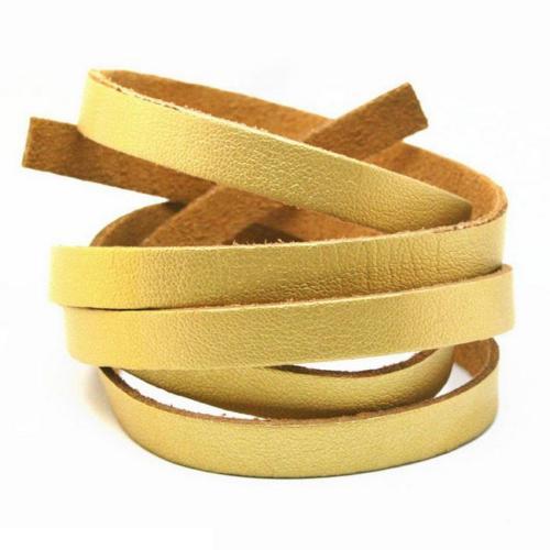 Faux PU Flat Leather Strip, for Bracelets, 8mm Wide, 1 metre x1pc, Gold