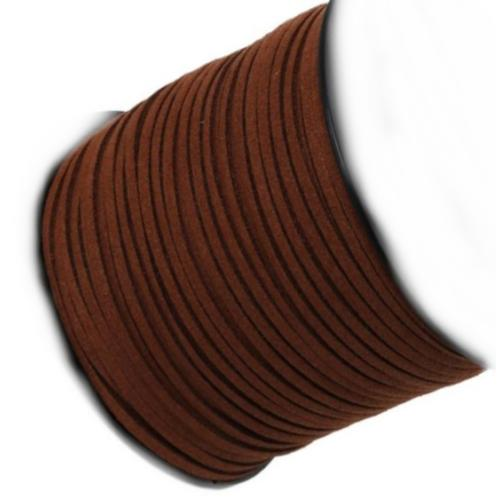 Faux Micro Suede Flat Cord 3mm - Mahogany Brown per metre