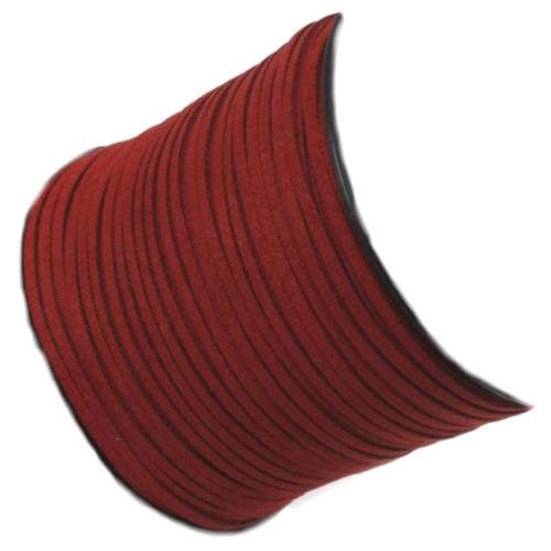 Faux Micro Suede Flat Cord 3mm - Roof Red per metre