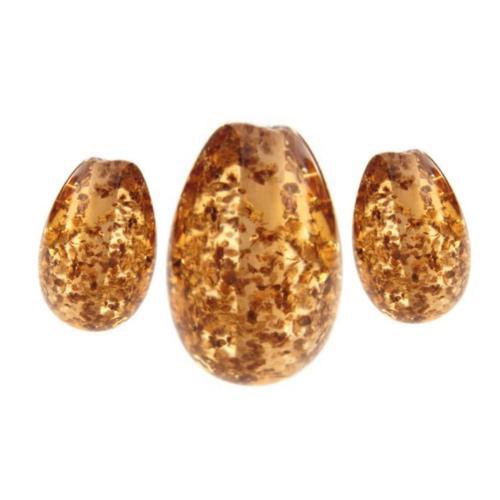 Topaz Glitter Flakes Eggs Set of 3 Artisan Glass Lampwork Beads