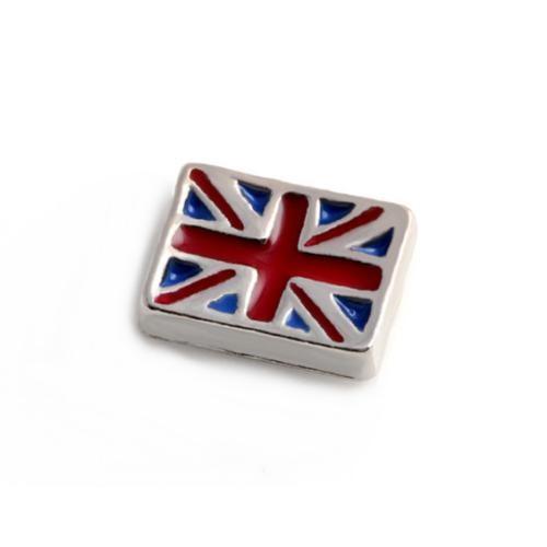 Floating Living Locket Charms, Enamel Union Jack UK Flag