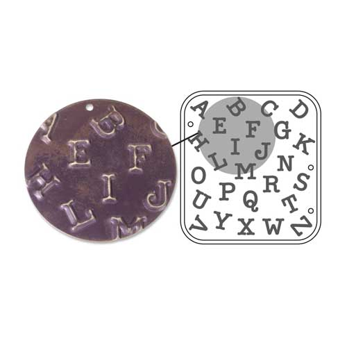 Vintaj Natural Brass - Sizzix DecoEmboss Die - Uppercase Typewriter