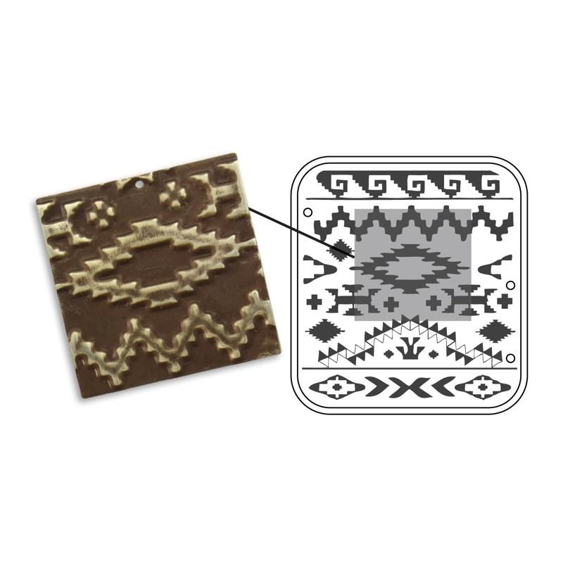 Vintaj Natural Brass - Sizzix DecoEmboss Die - Navajo Textile